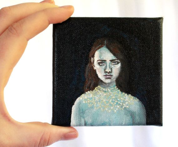 Ghost of a Girl  Miniature Acrylic Painting by SometimesAliceArt
