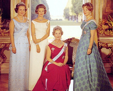 Denish royal ladies, Queen Ingrid, Queen Margrethe, Queen Anne Marie of Greece (and Denmark) and Princess Benedikt of Berleberg (nee Denmark)