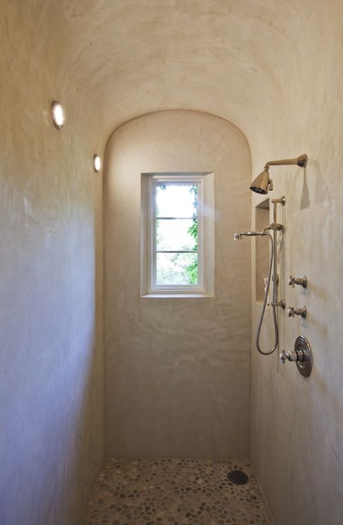 Pebble Shower Floor, plaster walls Mediterranean, bathroom, Ryan Street and Associates