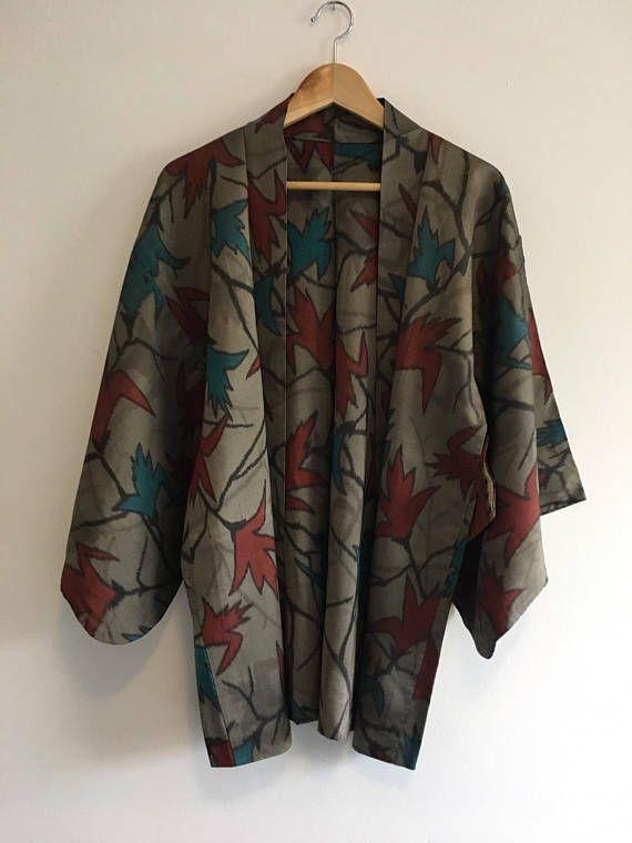 Vintage Japanese  kimono Jacket Silk crepe Haori Haori