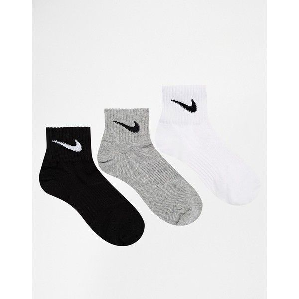 Nike 3 Pack Multi Socks ($14) ❤ liked on Polyvore featuring intimates, hosiery, socks, multi, nike socks, ankle high socks, cuff socks, ankle high hosiery and nike
