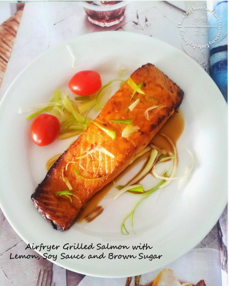 Little Joy Factory: Grilled Salmon with Lemon, Soy Sauce and Brown Sugar (Airfryer Version)