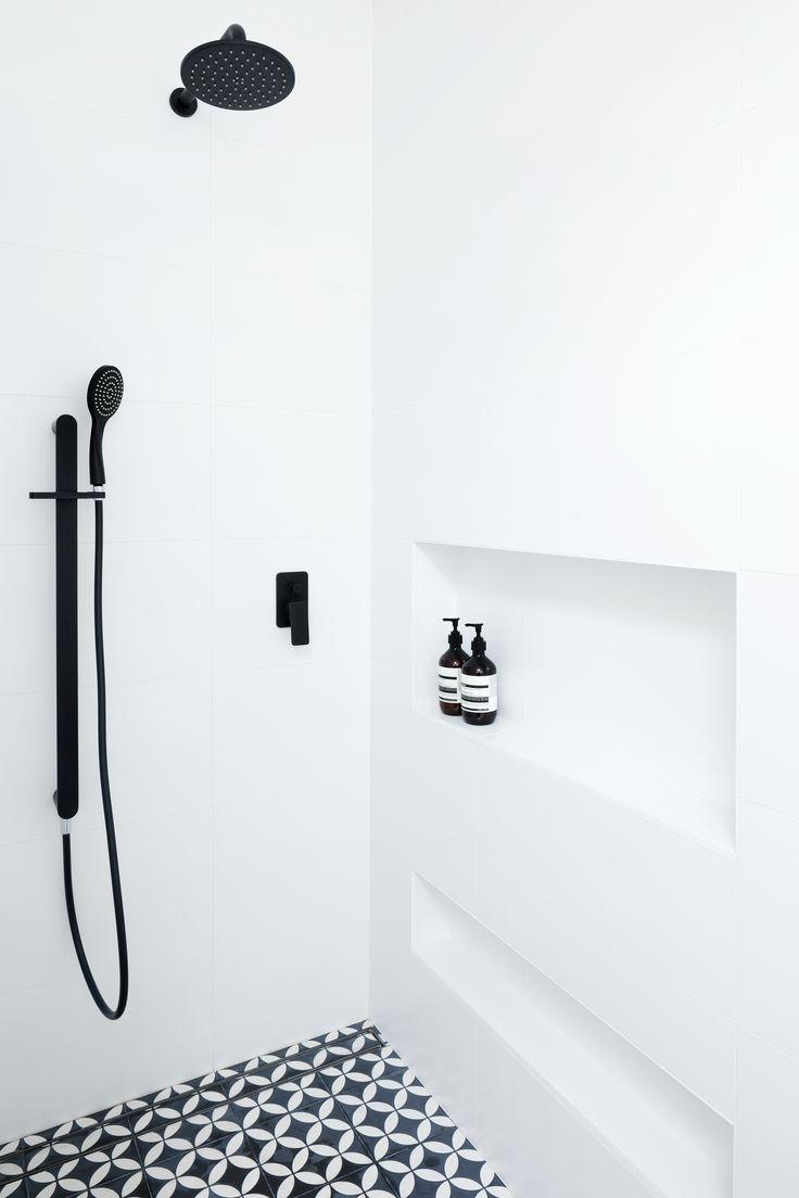 Leederville Bathroom Renovation by Retreat Design                        #design #bathroom #laundry #renovation #geometric #blackandwhite #bathroomdesign