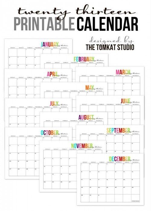 Free Printable 2013 Monthly Calendar :: The TomKat Studio