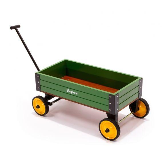"""Chariot en bois Baghera Classic vert. Un beau chariot en bois, bien stable, idéal pour emmener doudous et jouets divers en """"promenade"""" à travers la maison ou le jardin."""