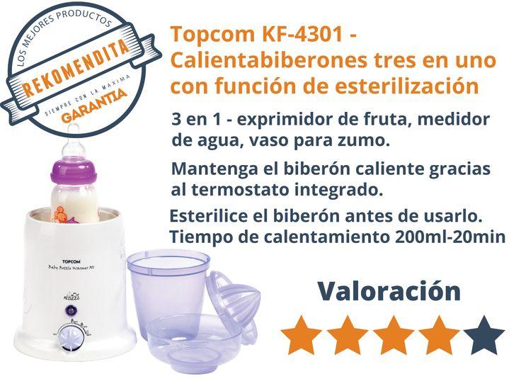 Topcom KF-4301  Comparativa: https://www.youtube.com/watch?v=QPc5X7pkxW0 Calientabiberones tres en uno con función de esterilización. 3 en 1 - exprimidor de fruta, medidor de agua, vaso para zumo. Caliente el biberón de su bebé de manera fácil y rápida. Mantenga el biberón caliente gracias al termostato integrado. Esterilice el biberón antes de utilizarlo. Tiempo de calentamiento (biberón de 200 ml) 20 minutos. Vale para todos los tamaños de biberones.