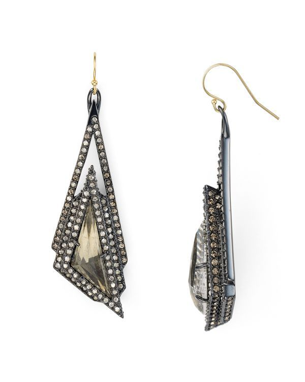 "Alexis Bittar Crystal Stepped Pyrite Drop Earrings | Imported | 2.25"" drop 