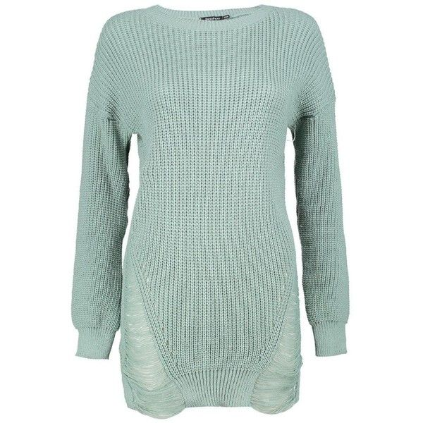 Boohoo Melissa Distressed Hem Jumper Dress (1,105 PHP) ❤ liked on Polyvore featuring tops, sweaters, green sweater, nordic sweater, party jumpers, knit turtleneck sweater and sequin top
