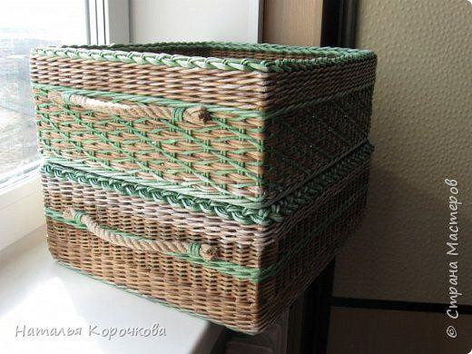 Поделка изделие Плетение Коробки для вещей в мужской шкаф Трубочки бумажные фото 7