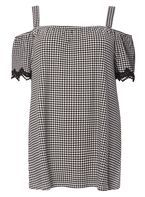 Womens DP Curve Plus Size Lace Gingham Bardot Top- Black