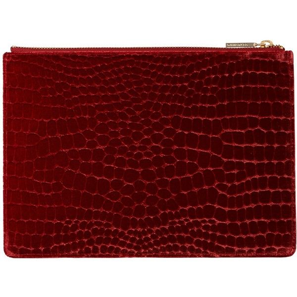 Whistles Velvet Croc Medium Clutch Bag (£69) ❤ liked on Polyvore featuring bags, handbags, clutches, hand bags, evening handbags, red clutches, velvet clutches and handbags clutches