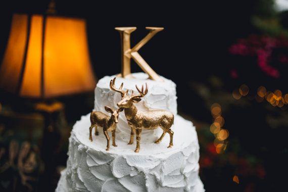 Metallisch goud gedimde herten bruidstaart Topper kerst