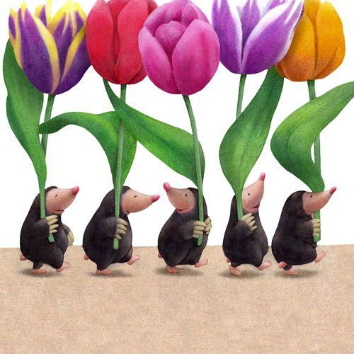 flowers tulips cute animals illustration flores tulipanes animales tierno fiori tulipani animali carini