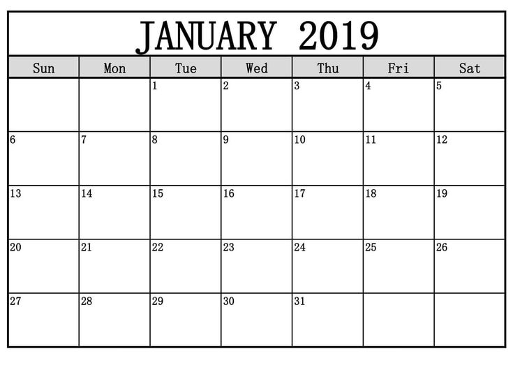 January 2019 Calendar Template With Notes January 2019 Calendar