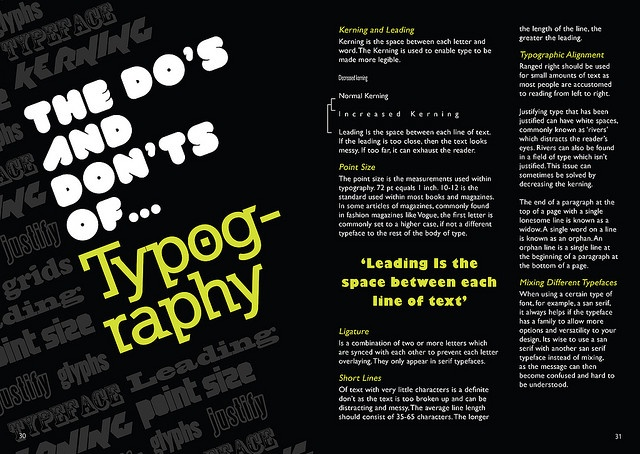 Typography magazine layout by G Martin Graphics, via Flickr