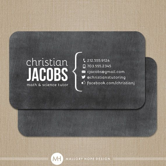 Chalkboard Tutor or Teacher Business Card Business Card / Mommy Card / Calling Card on Etsy, 115.54 ₪