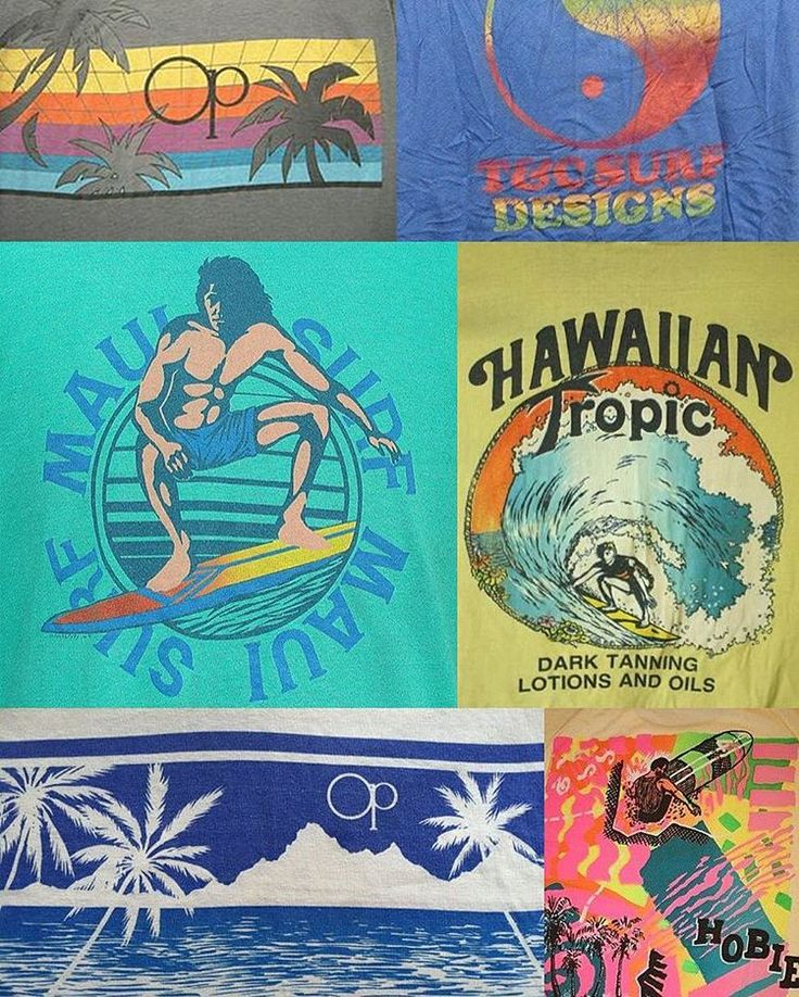 """""""Graphic design inspiration find of the day: 80s Hawaii and California surf t-shirt graphics!"""""""