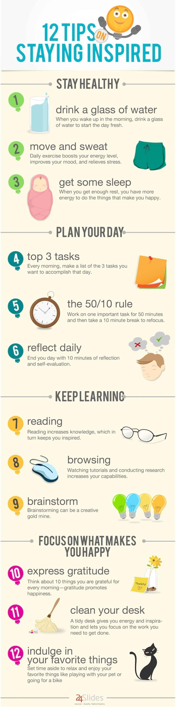 12 Tips On Staying Inspired Graphic