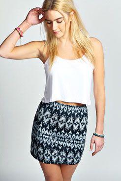 Emilee Monochrome Ikat Print Mini Skirt