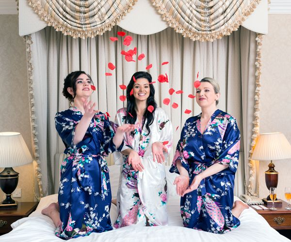 Midnight Navy Satin Robes - How classy are they??  https://www.wowwee.ie/Personalised-Bridal-Party-Bathrobes-p/one-white-navy-blue-set.htm