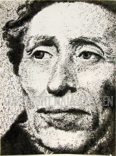 Portrait of the danish author Hans Christian Andersen. Chinese Ink, A2 format. Original is sold. By Naja Abelsen, Denmark. www.najaabelsen.dk