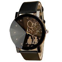 Gofuly 2016 Новый Лучшие Продажи 1 Пара PU Кожаный Ремень Часы Студент Вскользь Пары Часы Для Любовника(China (Mainland))