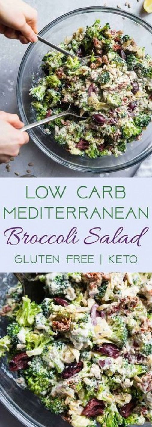 Low Carb Mediterranean Broccoli Salad – This Low Carb Broccoli Salad with a Gree…