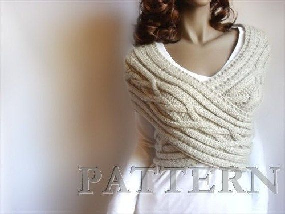 Cot Blanket Knitting Pattern : Knitting Pattern Women Cabled Sweater criss cross Vest and Cowl Neckwarmer PD...