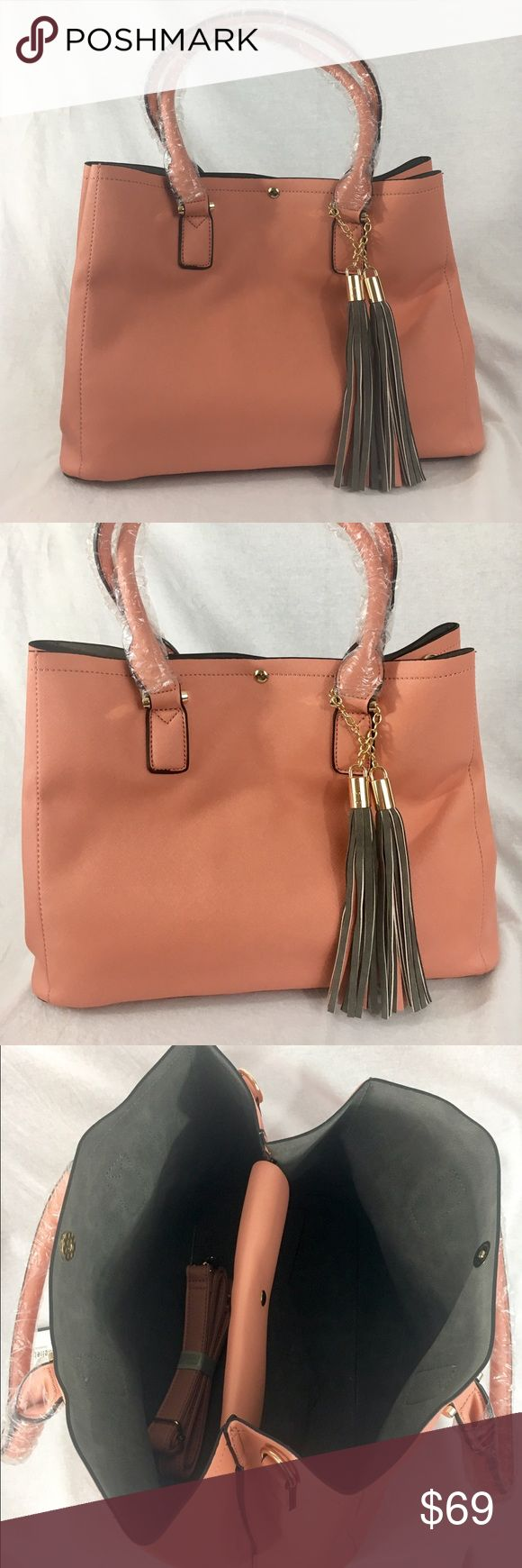 """Vegan Leather Blush Melie Bianco Handbag Blush Colored (soft peach). Smooth gray interior with gold-plated hardware. Spacious. Dimensions: 10.5""""L x 13""""W x 7"""" (base). Brand New! Vegan Leather. Designer bag by Melie Bianco. Melie Bianco Bags Shoulder Bags"""