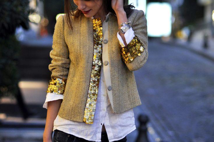 Tory Burch Brown Gordie Sequin-embellished Silk-blend Jacket