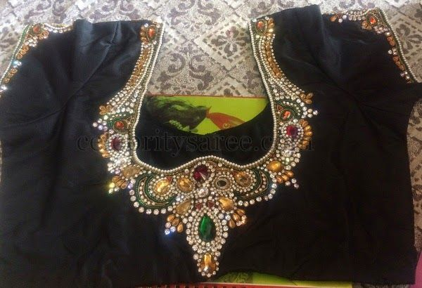 Black Blouse with Colorful Stones Work | Saree Blouse Patterns