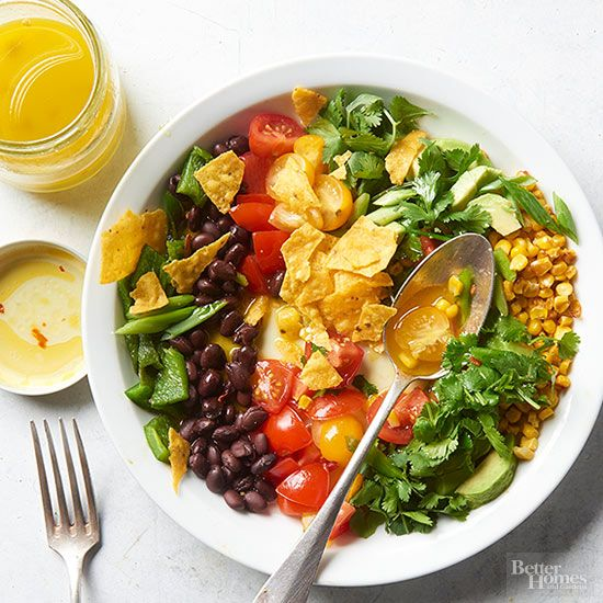 Love Tex-Mex? Then this nacho-inspired salad has your name written all over it. Toss in more beans or add chicken for an extra boost of protein. /