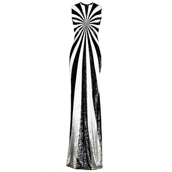 Matthew Williamson Optical Sequin Silk Evening Gown