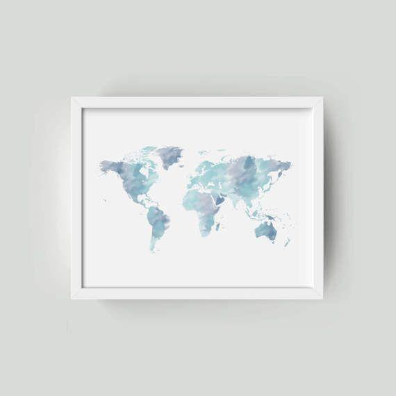 Wereld kaart aquarel wereldkaart | Grote wereldkaart | Wereld kaart Poster | Wereld kaart Canvas | Wereld kaart Wall Art | Wereld kaart afdrukken wereldkaart