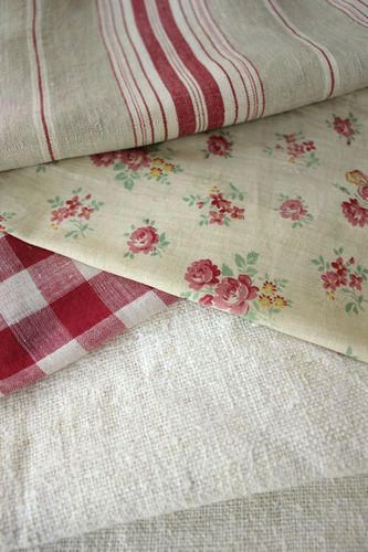 Antique Vintage French fabric... tea cloth, apron, or table linens.