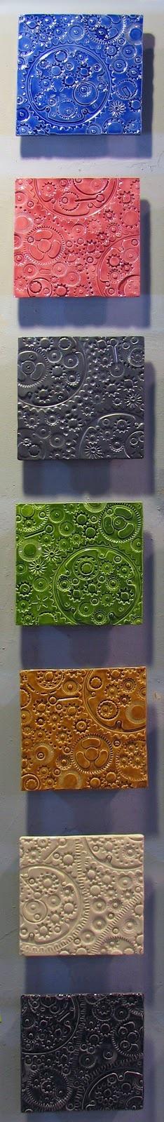 Gear Tiles - Vertical ceramic wall art tile Murals from JasonMessingerArt.com