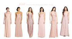 How to create the perfect mismatched bridesmaid dress look: http://www.dressforthewedding.com/pink-mismatched-bridesmaids/
