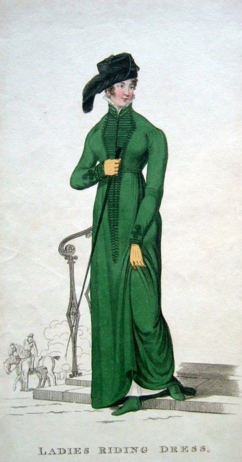 Riding dress, Ackermann. These severe gowns were the only ladies' clothing made by tailors.