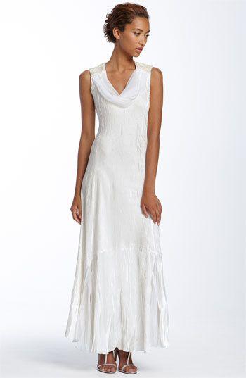 C 39 s hawaiian wedding komarov beaded shoulder pleated for Hawaiian wedding dresses informal