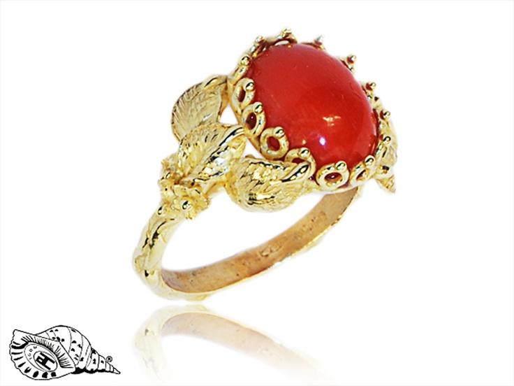 anelli corallo oro