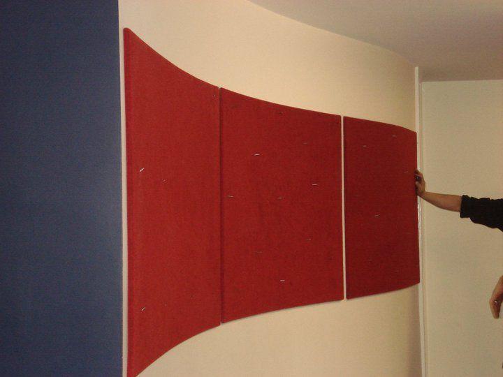 Classroom Wall Decor Ideas ~ Theatre coloured wrap around fabric notice boards fixed to