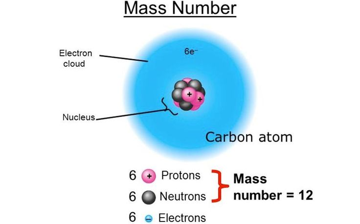 The nucleus of a carbon atom has a mass that's approximately 0.8% lower than the individual protons and neutrons that compose it, thanks to nuclear binding energy. Image credit: Delia Walsh of http://slideplayer.com/slide/6002405/.