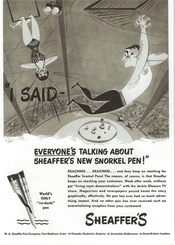 A trapeze artist-themed ad for the Sheaffer Snorkle pen