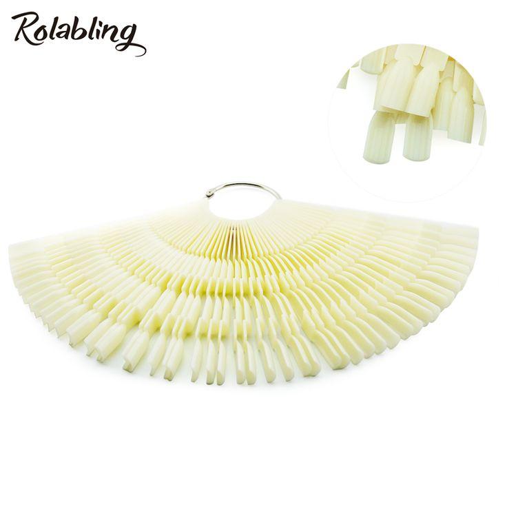 Rolabling 150 Tips 3 Knots Nail Art Display Natural Fan-Shaped Chart Color For Nail Polish Practice With Ring Nail Tools