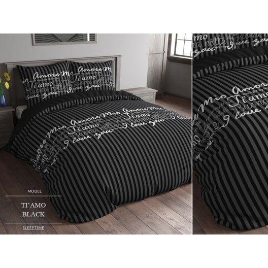 Posteľné obliečky čiernej farby so sivými pruhmi