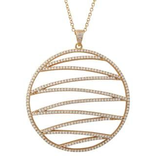 Luxiro Gold Finish Sterling Silver Cubic Zirconia Circle Pendant Necklace