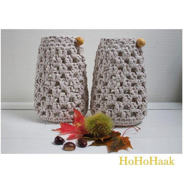 Herfst! #herfst #autumn #windlichtjes #windlichten #haken #crochet #crocheting #ribbonxl #zpagetti #hoooked #gezellig #kaarsjes #handmade #hohohaak