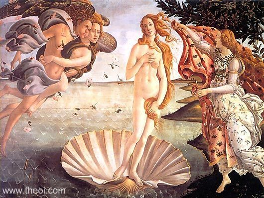MYTHOLOGY IN POST-CLASSICAL ART    The Birth of Aphrodite by the Italian Renaissance painter Botticelli (1444-1510). The wind gods Boreas and Zephyrus waft the goddess to shore where she is clothed by one of the Seasons.