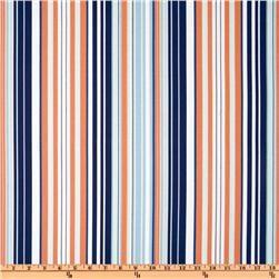 Anchors Away nautical stripe in navy, blue, orange