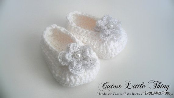 White Crochet Baby Booties , Christening,  Baptism, Crochet Booties, Baby Girl Booties, Baby Girl Slippers Mary Janes on Etsy, $18.00